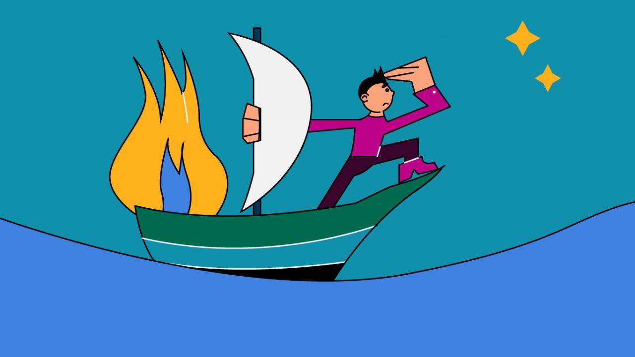 cartoon man on a burning boat